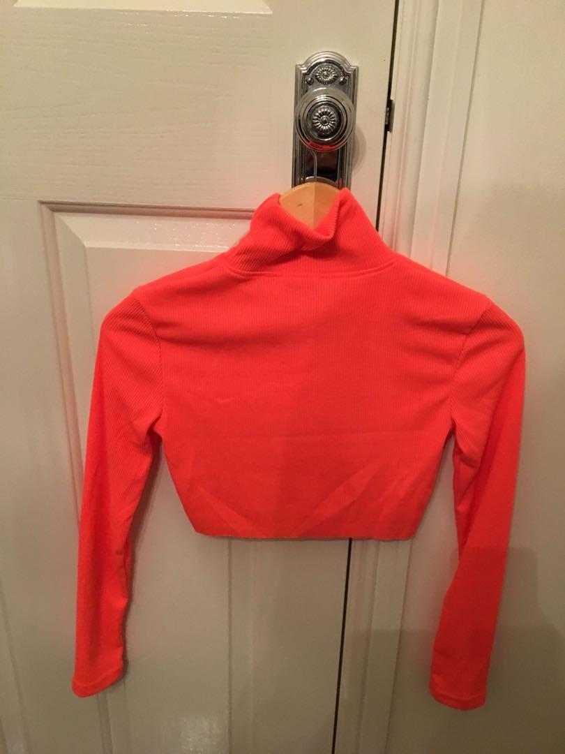 fluoro pink cropped long sleeve top