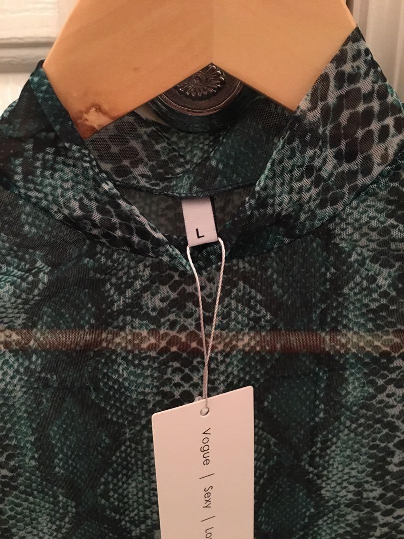 green snake skin long sleeve mesh shirt