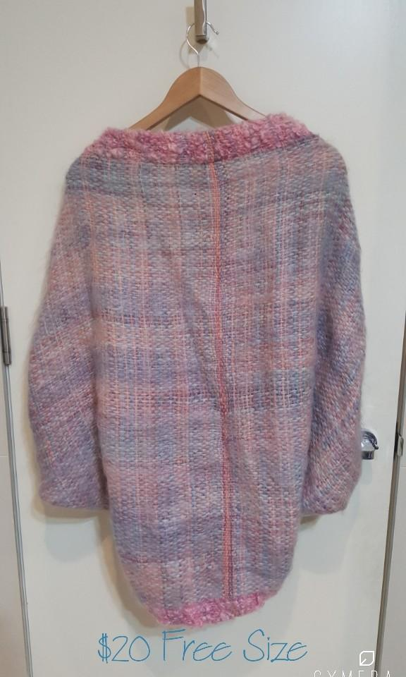 Hand Knitted Unique Vintage Pastel Purple Oversized Poncho/Cardigan (Free Size)