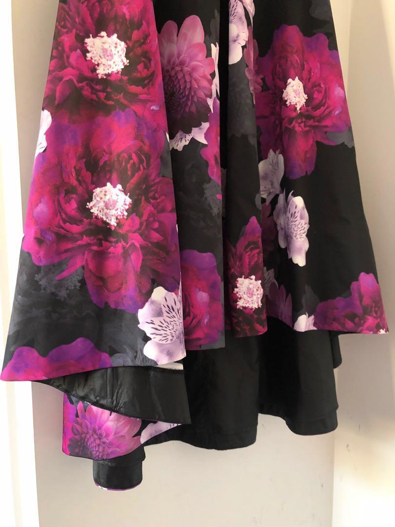 Jayson Brunsdon Black Label Off Shoulder Hibiscus Fit And Flare Dress IN PURPLE