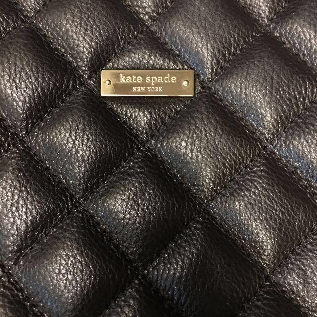Kate Spade紐約黑色菱紋車線牛皮時尚包
