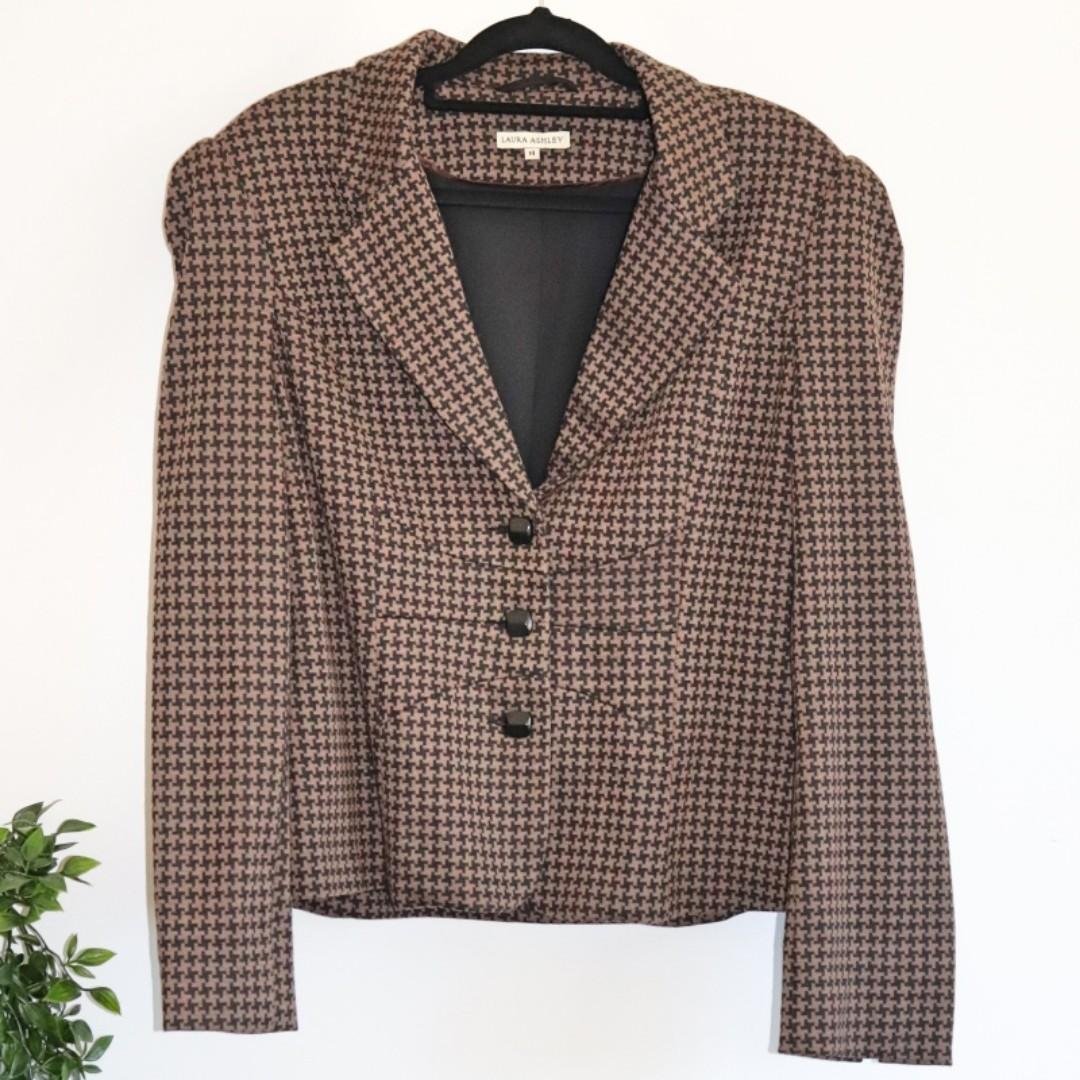 Laura Ashley Brown & Black Houndstooth Jacket/Blazer- Size 14
