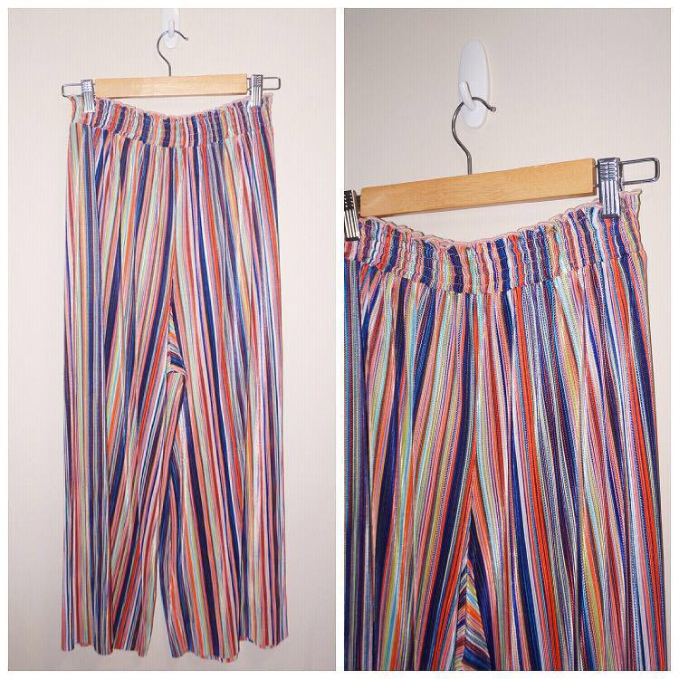 *Like New* Multi-color Wide-Leg Elastic-waist Ankle Length Pants Fits S-L