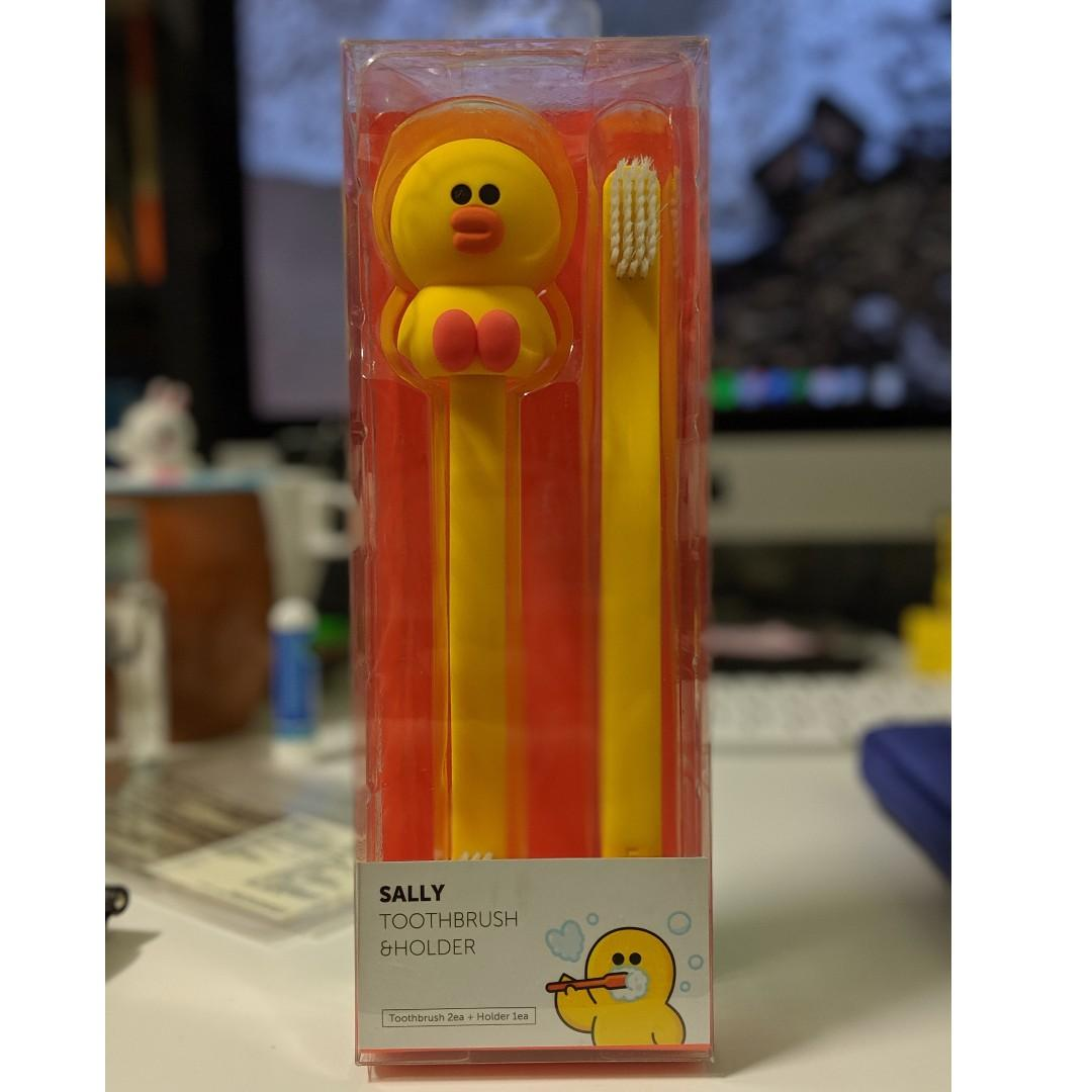 Line Friends Sally Toothbrush set with holder Official Genuine Korea