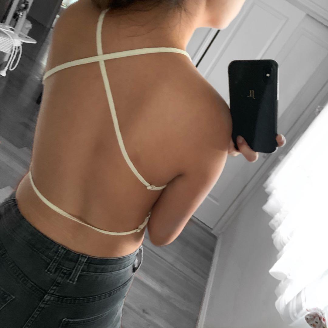 Linen Open Back Crop Top