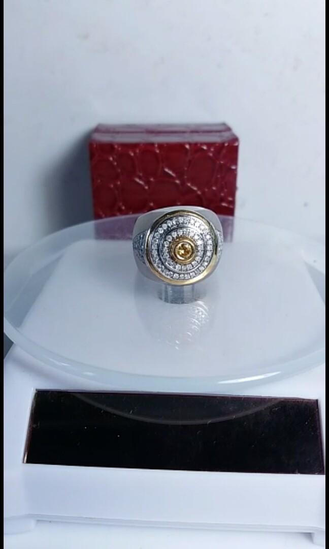 Mens Ring Diamonds Emerald & Yakut