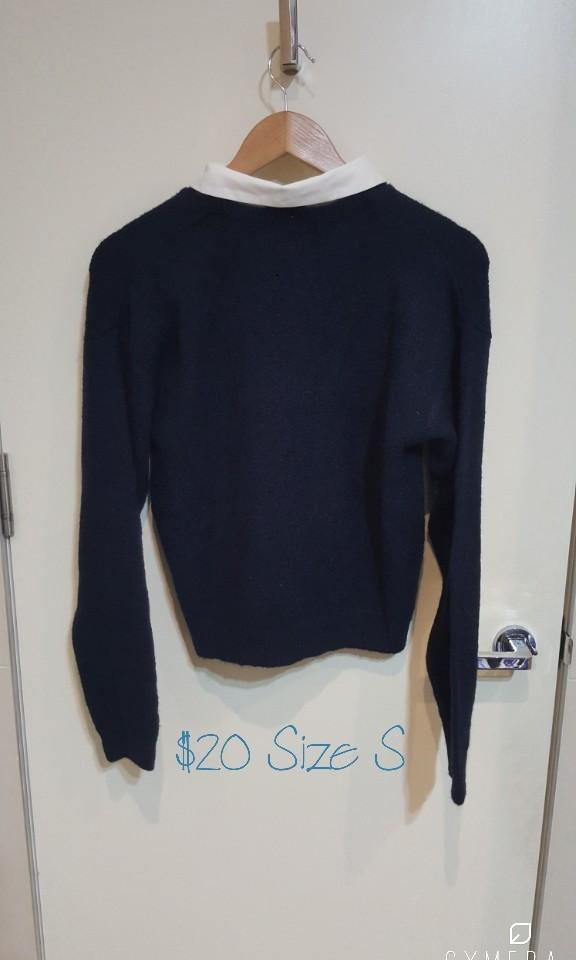 """""""MERCURYDUO"""" Japanese Brand Navy Knitted Jumper with Detachable Jem Collar (Size S)"""