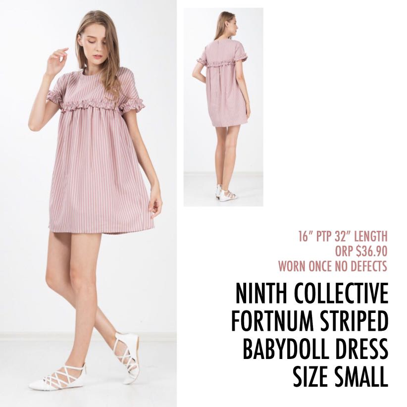 39d7d4d6673b3 Ninth Collective Fortnum Striped Ruffle Babydoll Dress Rose Pink Small S,  Women's Fashion, Clothes, Dresses & Skirts on Carousell