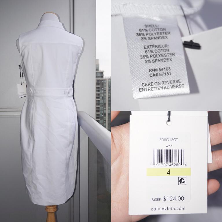 *NWT* Calvin Klein Cotton-blend Sleeveless Shirt Dress in White Women Size 4
