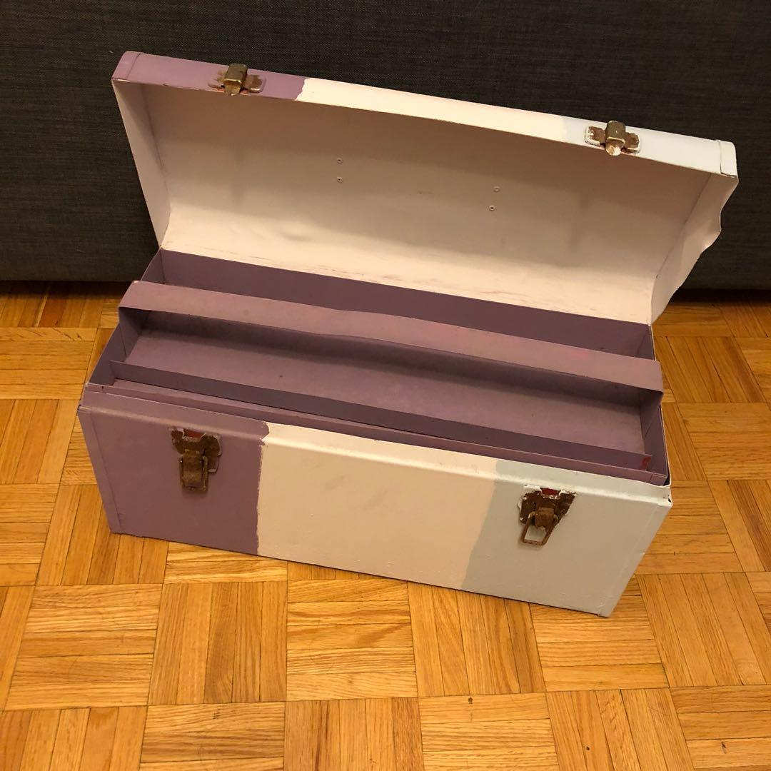 Painted Restored Toolbox into Jewellery/Accessory/Craft/Storage Box