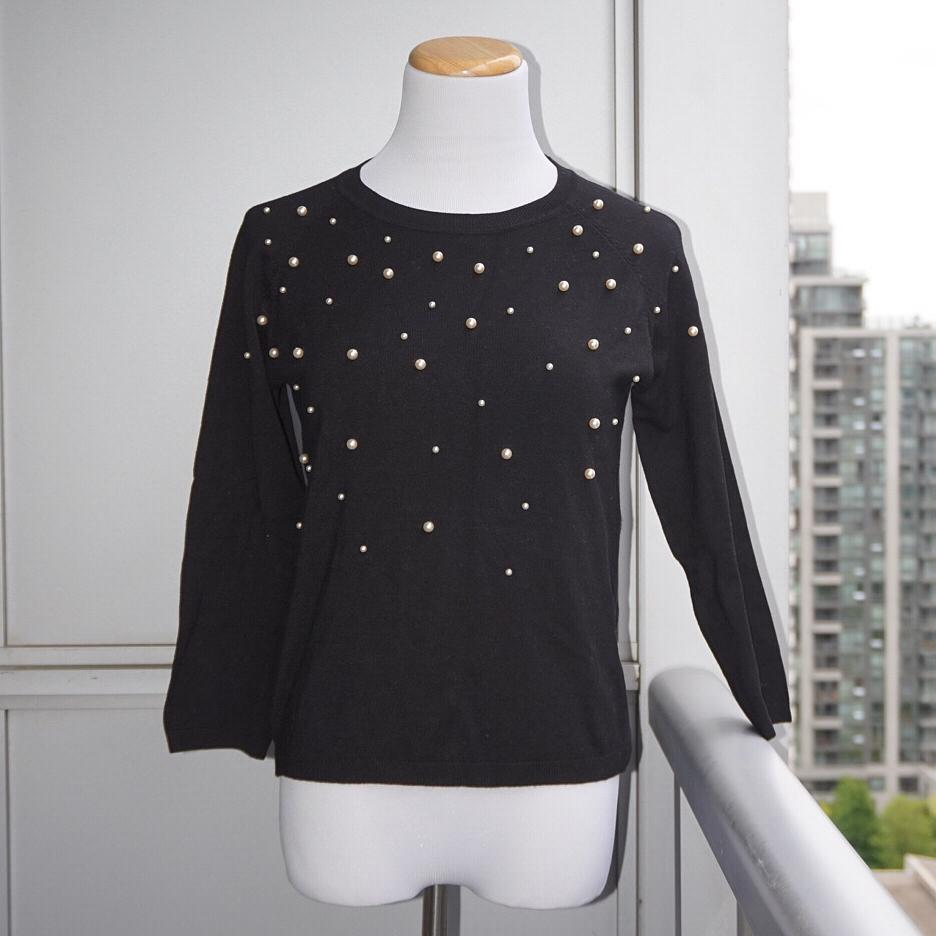*Perfect Condition* Zara Knit 3-Quarter Sweater in Black with Faux Pearls Women Size M