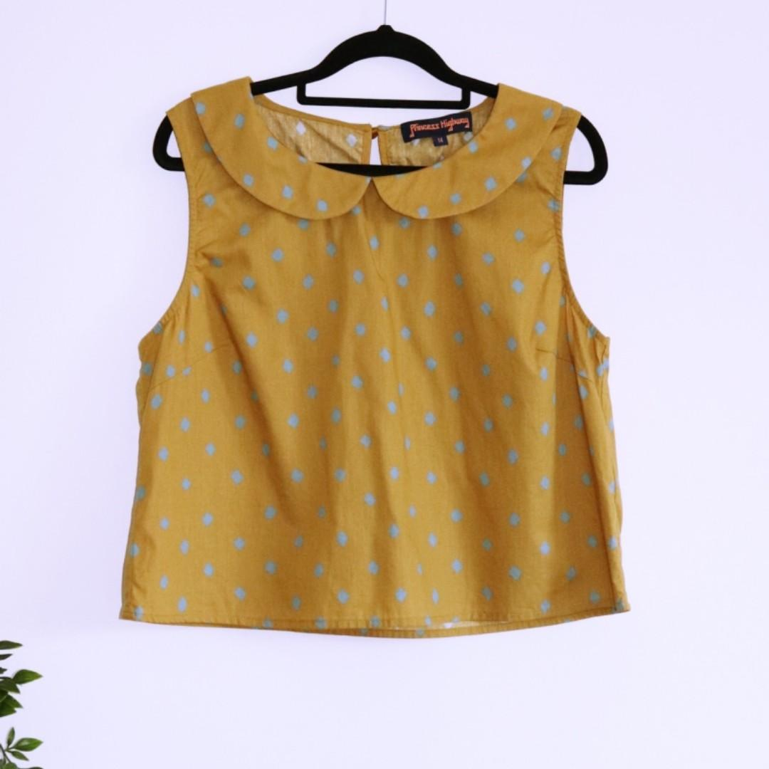 Princess Highway Retro Yellow Collar top - Size L 14