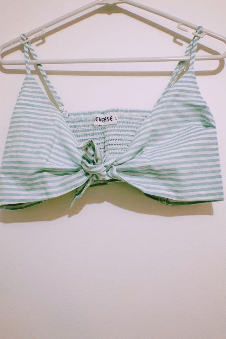REVERSE Striped Bandeau with Adjustable Spaghetti Strap