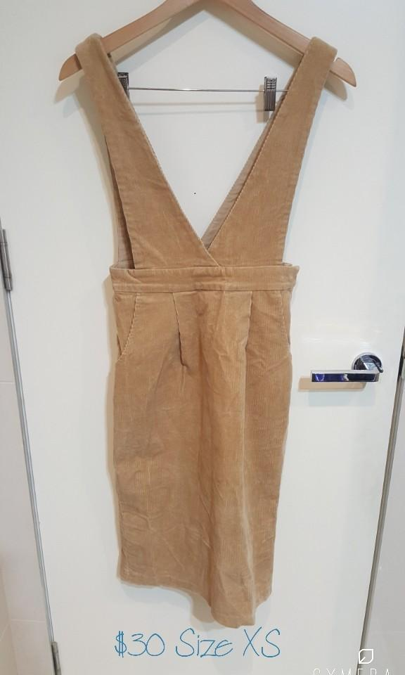 """Rienda"" Japanese Brand Light Brown Corduroy  Overall Dress (Size XS)"