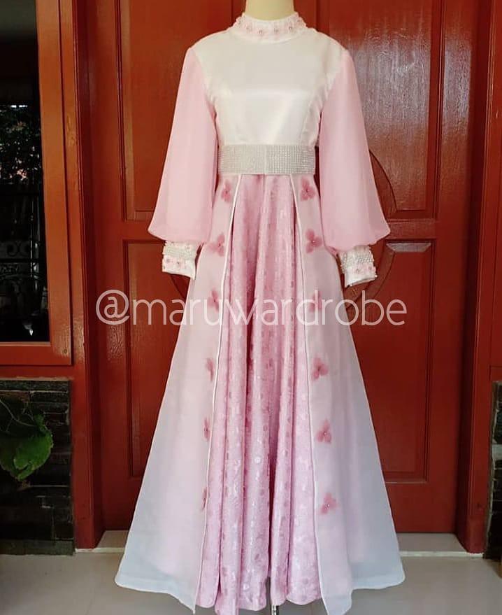 [SEWA] Gaun Pernikahan Syar'i Muslimah dengan Cadar/Niqab Lengkap - Dress Walimatul Ursy - Pink Putih Susu