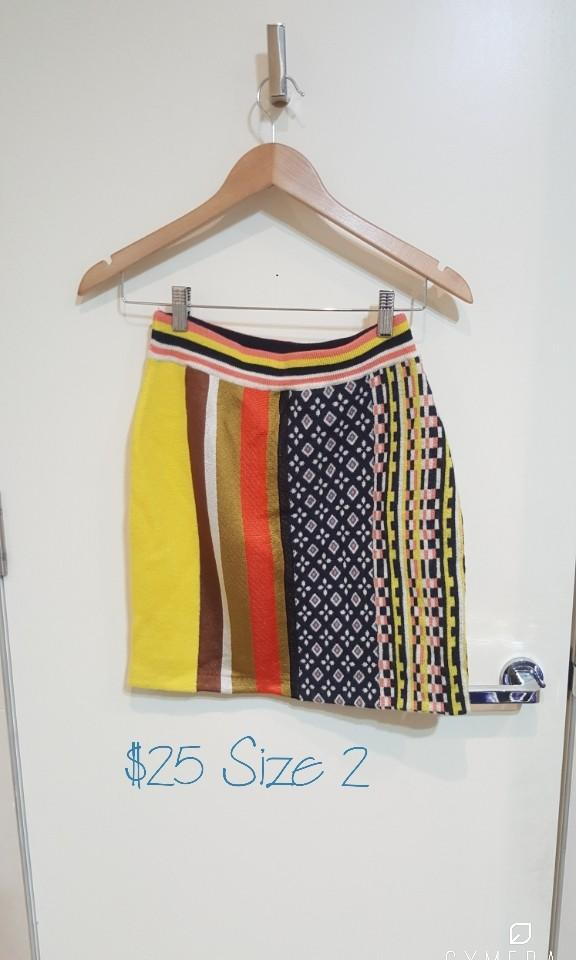 """""""SLY"""" Japanese Brand Vibrant Colours and Patterned Knit Pencil Skirt (Size 2)"""