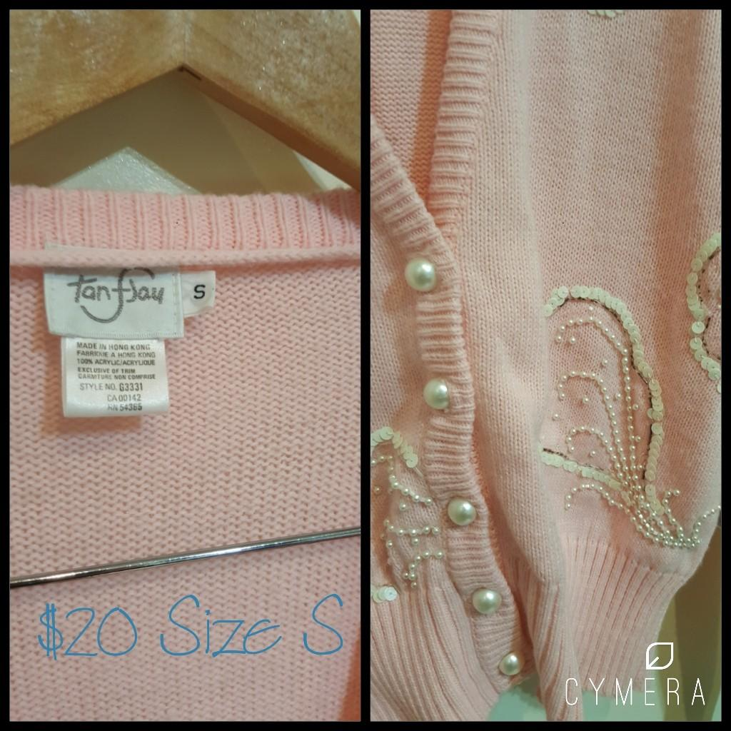 """""""Tan F Jay"""" Vintage Pastel Pink Oversized Sequinned Knitted Cardigan (Size S)"""