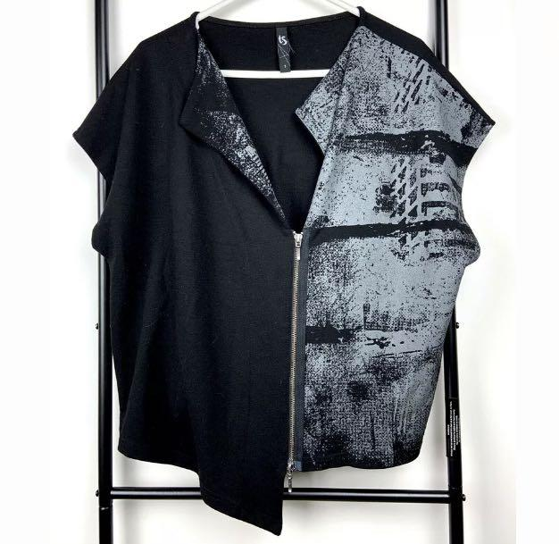 TS Taking Shape S/16 black grey lagenlook vest jacket top asymmetric plus size