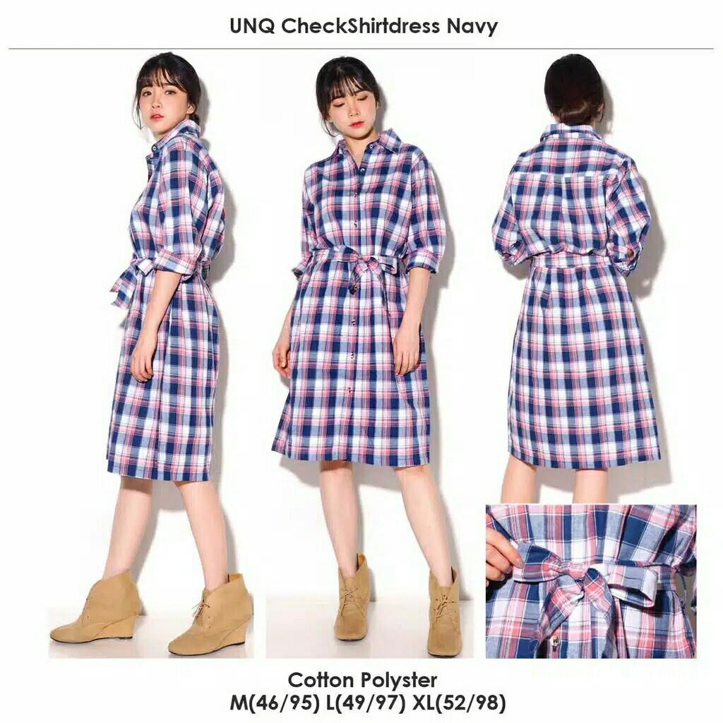 UNIQCLO check tshirt dress midi dress ORIGINAL