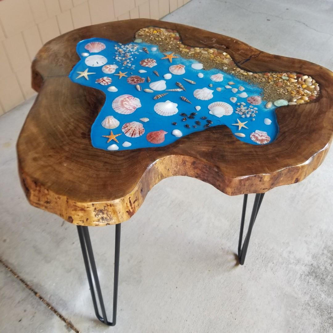 Unique handcrafted live edge black walnut side table
