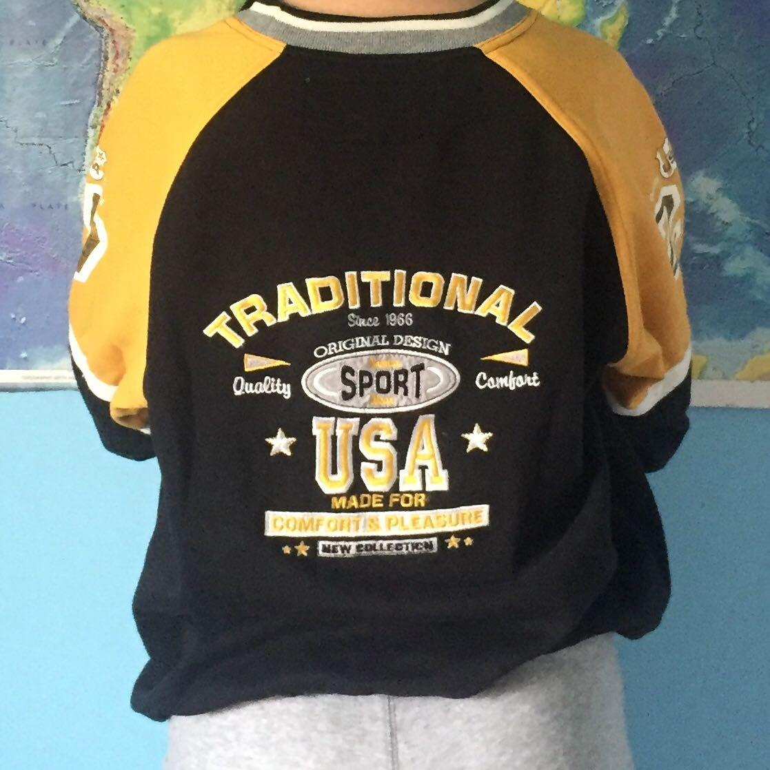 Vintage Black & Yellow Graphic Sweatshirt (design on sleeves & back)