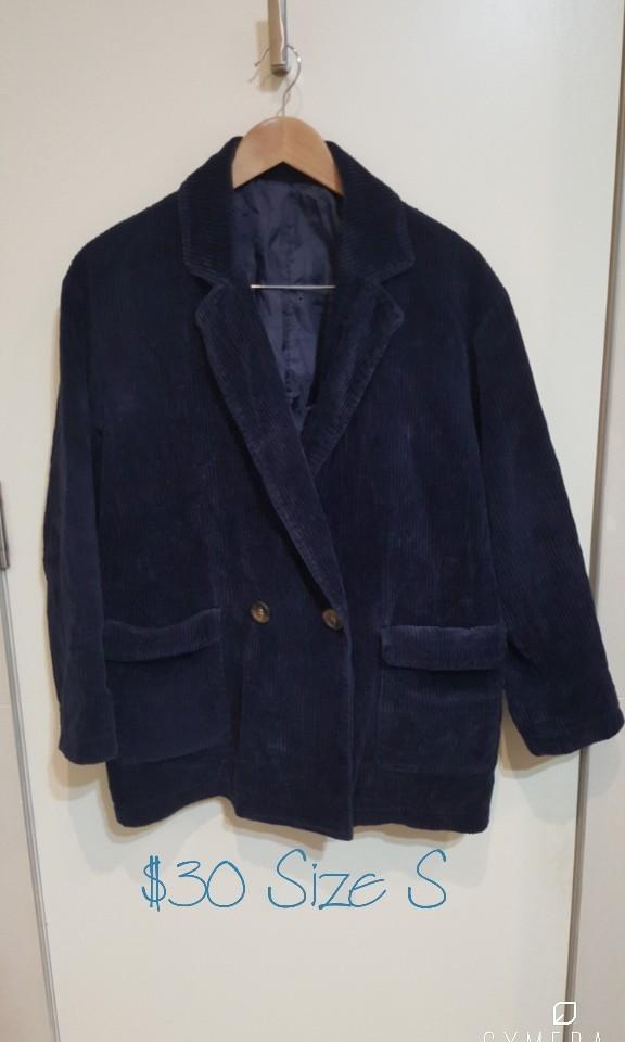 """""""W CLOSET"""" Japanese Brand Navy/Indigo Corduroy Oversized Jacket (Size S)"""