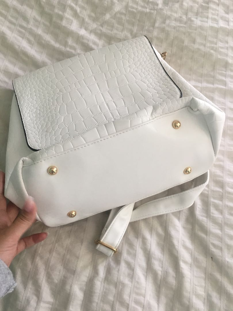 White Croc Faux Leather Backpack with Gold Detailing