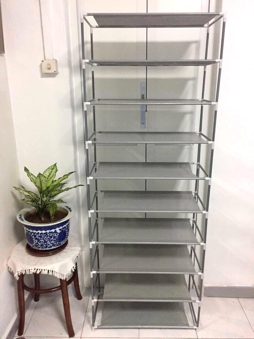 Whitmor Spacemaker 10 Tier Tower Multi Tier Shoe Rack Storage Shelves Home Organization Grey