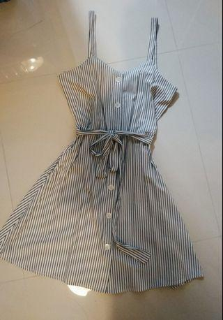 pinstriped button down front tie dress