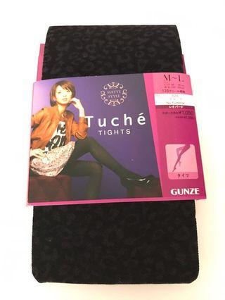 Tuche 絲襪黑色豹紋日本製,花紋如圖