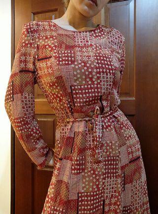 🚚 古著 日系紅色花花拼布感 A字長洋裝
