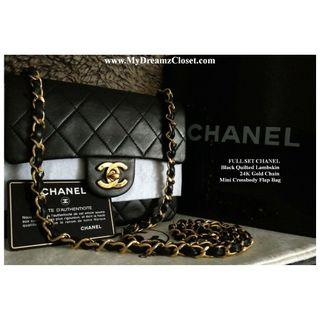 全套CHANEL黑色绗缝小羊皮24K金链迷你斜挎包