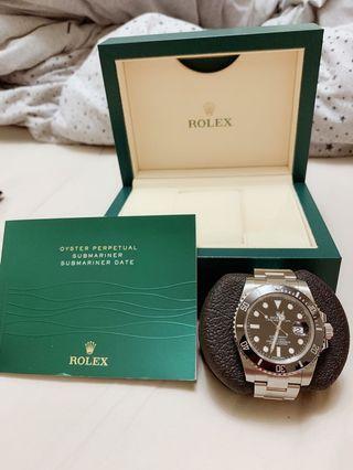 🚚 ROLEX勞力士 黑水鬼 陶瓷框 2015年卡 9.8成新 錶帶有個小小刮痕 帶不超過十次 原廠全配件 錶徑40mm