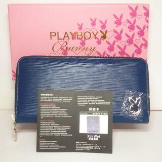🚚 【 全新 正品】PLAYBOY 多卡位大容量 長款拉鏈錢包 皮夾 藍色(附保卡)