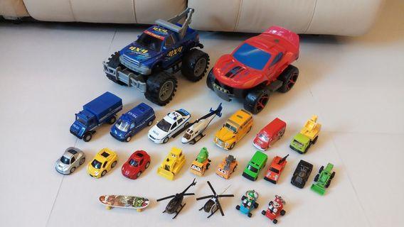 正版 蜘蛛俠 巨型變形車 四驅車 警車 直升機 校巴 回力車等 共23架