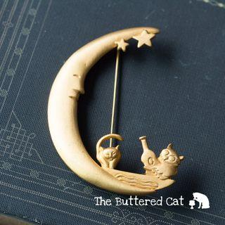 Adorable owl and cat on the moon brooch, large statement brooch