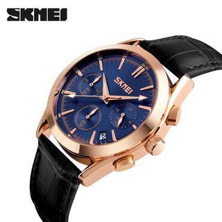 SKMEI Original Men Quartz Wristwatches Fashion Casual Watch Leather Strap Complete Calendar Auto Date Luxury