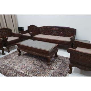 Vintage Sofa Set - Elephant Carvings