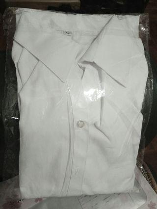 女長袖V領白恤衫 size XL white shirt