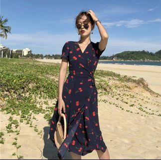 Floral Cherry navy blue red Wrap Dress