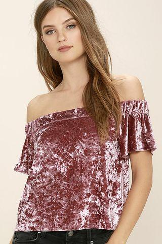 TEM velvet crushed off shoulder pink