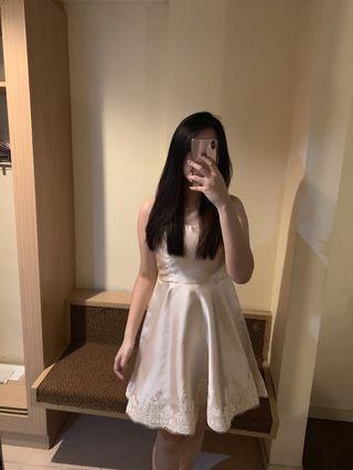 White to Crem Flow Dress