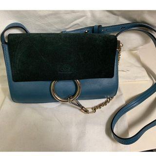CHLOE Small Faye Suede Shoulder Bag (Blue)