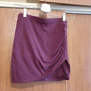H&M Burgundy Bodycon Short Skirt