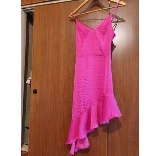 Miss Selfridge Asymmetrical Pink Flare Dress
