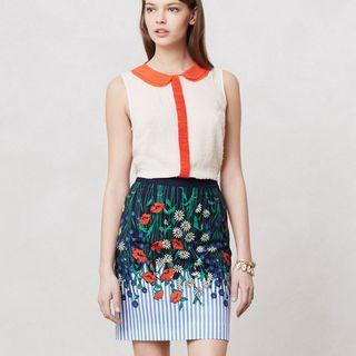Anthropologie vertical garden pencil skirt