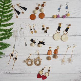 🚚 【手作,耳飾】木質棉麻系列。耳環耳鉤耳鈎耳夾耳針