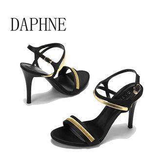 Daphne/達芙妮夏上新夏性感時尚時尚舒適拼接交叉一字帶細跟涼鞋全新清倉 挑戰最低價任選3件免運費