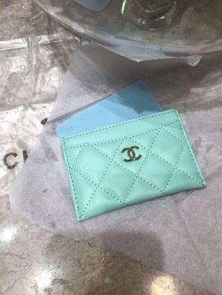 Chanel Tiffany blue quilted caviar card holder