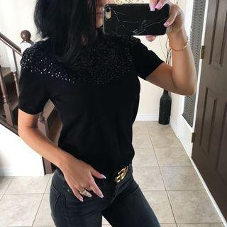 Black sequinned sweater size S